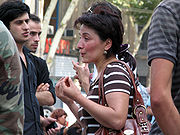 Georgian refugees from South Ossetia asking for help outside the Georgian Parliament in Tbilisi on 10 August 2008.