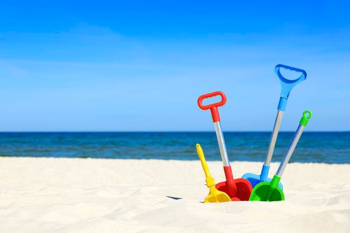 Toy shovels beach