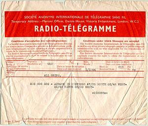 English: 1944 SOS telegram reporting airmen in...