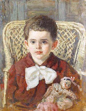 English: Boy with a doll, 1922