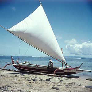 English: Proa with hoisted sail at the beach N...