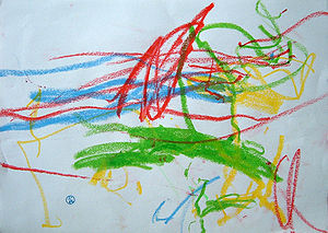 Scribble by one year old.