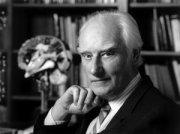 Francis Crick in his office. Behind him is a m...