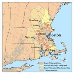 Extensión del área metropolitana de Boston.