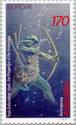 Hayk Nahapet, superimposed on Hayk constellati...
