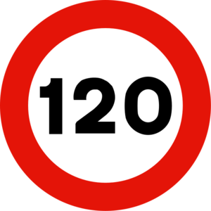 Señal de velocidad máxima 120 km/h.