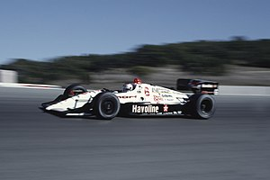 Mario Andretti in a CART race at Laguna Seca i...