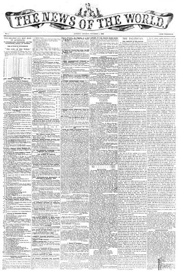 English: First issue of News of the World, Oct...