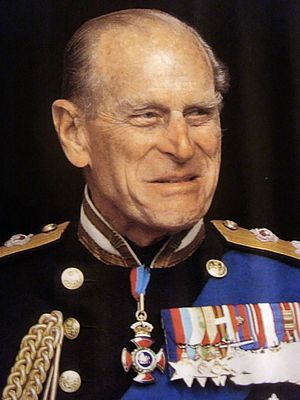 Reproduction of a photograph of Prince Phillip...