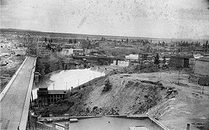 Old photo of the Spokane Falls in Spokane.
