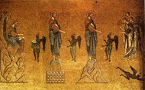 Temptation of Christ (mosaic in basilica di Sa...