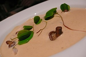 Velouté sauce with Calocybe gambosa (mushroom)
