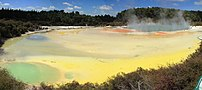 Panorama of the central pools of Wai-O-Tapu, A...