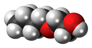 Space-filling model of the 2-butoxyethanol mol...
