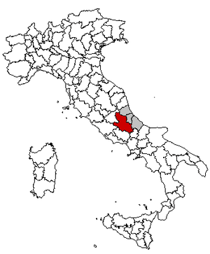 Locator map of the province of L'Aquila, in Italy.