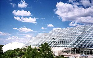 Exterior view of Biosphere 2, an attempt to cr...