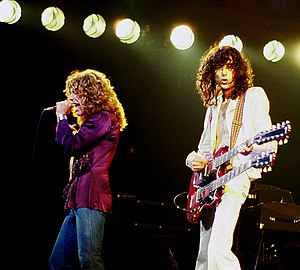 English: Robert Plant (left) and Jimmy Page (r...