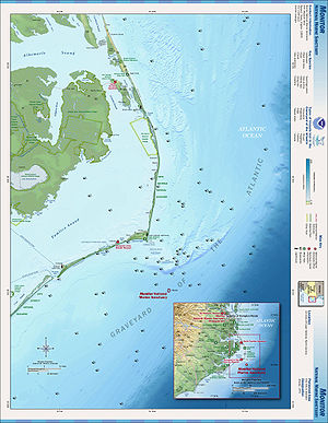English: NOAA map of the Outer Banks area, sea...