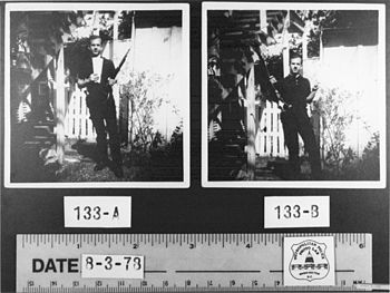 Two photographs of Lee Harvey Oswald holding h...
