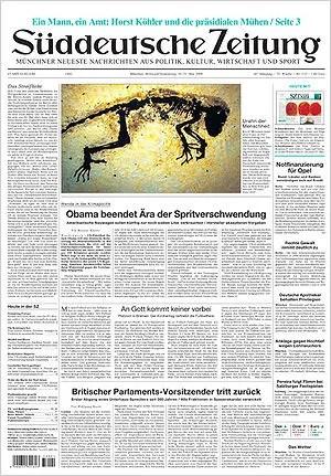 Front Page of the german Newspaper Süddeutsche...