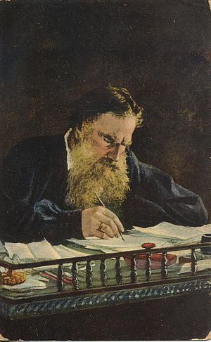 English: Leo Tolstoy at his desk