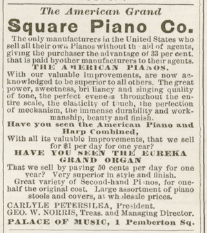 Advertisement for American Grand Square Piano ...
