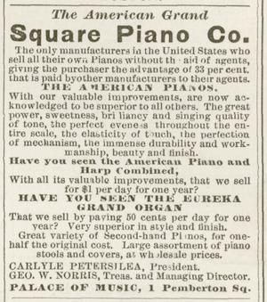 Advertisement for American Grand Square Piano ...
