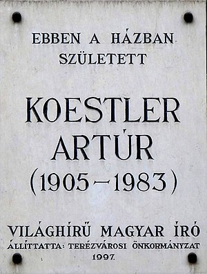 Commemorative plaque to Mr. Arthur Koestler (1...