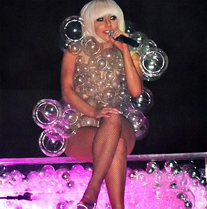 Lady Gaga performing on the Fame Ball tour in ...