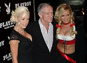 Hefner celebrating his 80th birthday with Kendra and Bridget in Munich, April 2006.