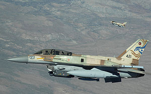 English: A two-ship of Israeli Air Force F-16s...