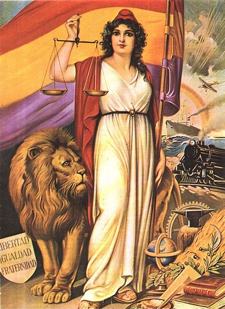 Spanish Republic Allegory displaying Republican paraphernalia and symbols of modernity.