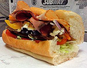 """English: A SUBWAY Club 6"""" sandwich."""