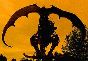 Silhouette of a dragon. Original caption: Thei...