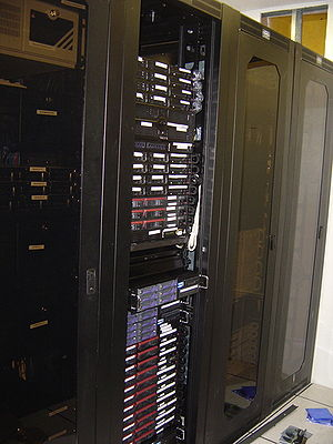 A row of racks in a server farm.