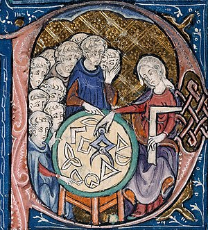 Woman teaching geometry, from Euclid's Elements.