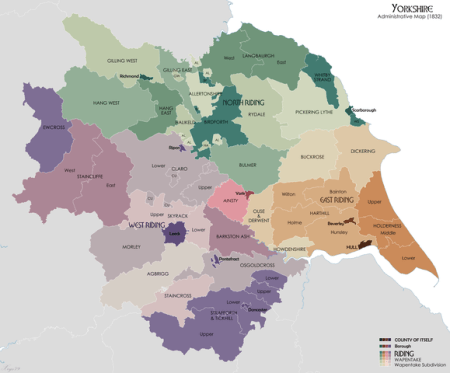 Administrative map of Yorkshire in 1832 showing Ridings and Wapentakes. Also showing extant Boroughs and the County of Itself of Hull. Source data for parish boundaries - Kain, R.J.P., and Oliver, R.R. (2001)
