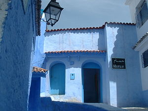 A typically blue-rinsed hammam in Chefchaouen