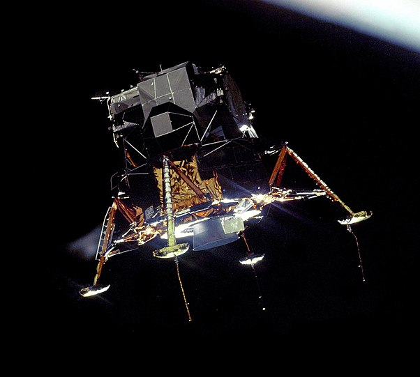 File:Apollo 11 Lunar Module Eagle in landing configuration in lunar orbit from the Command and Service Module Columbia.jpg