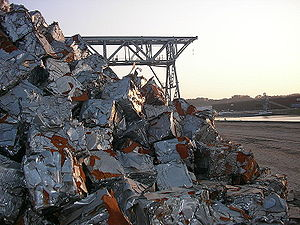 Compacted scraps pile in the port of Brussels
