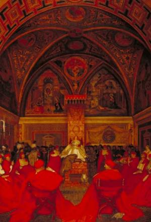 English: Lucrezia Borgia presiding over the Cu...