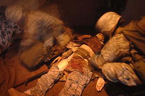 "Combat medics work through the ""blood lab"" at ..."