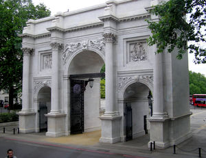 Marble Arch as it is now, standing near Speake...