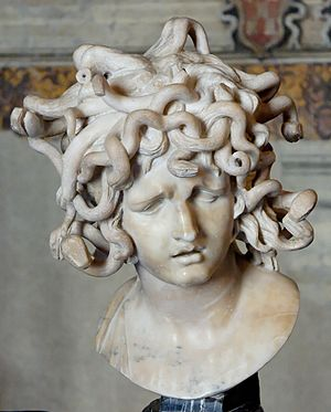 Head of Medusa. Marble, 1630.