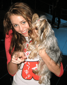Cyrus with her dog, Roadie