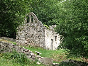 English: Ruined church of St James, Lancaut. F...