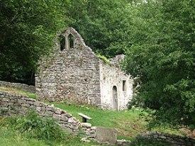 English: Ruined church of St James, Lancaut. F...