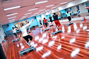 Step Aerobics Class at a Gym Category:Step aer...