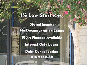 English: Offering subprime mortgage.