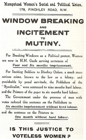 A British suffragette handbill produced during...